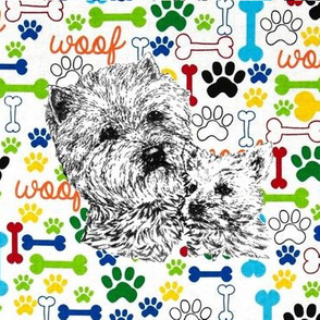 Westie and Pup woof bones paws