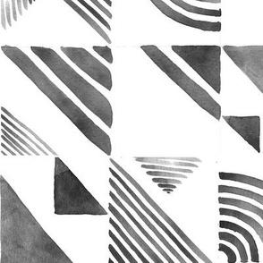 Watercolor Tiles - Black & White