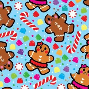 aloha gingerbread cookies on blue