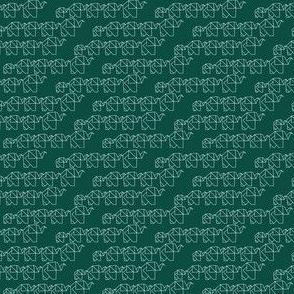 elephant family origami green