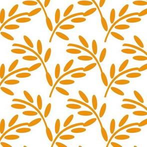 Orange Leaves, Modern Botanicals, Leaf Print, Gentle Flowing Shapes