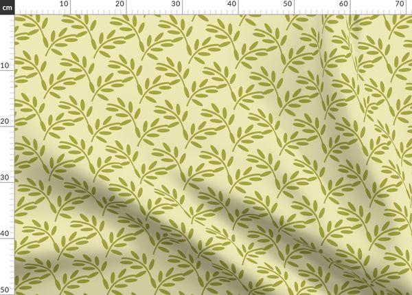 Vintage Mossy Olive Leaf Print On A Crea Spoonflower