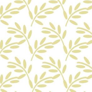 Pastel Ivory on White Modern Leaf Shapes, Garden Plants, Breezy Botanicals