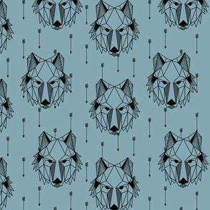 Geometric Wolf + Arrows (blue pond) Geo Wolves Woodland Animals Baby Boy Nursery Bedding B