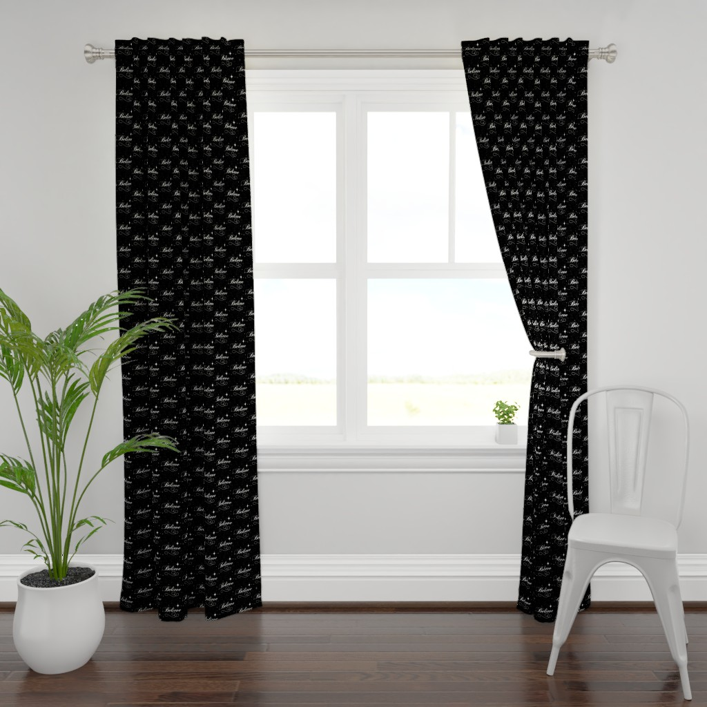 Plymouth Curtain Panel featuring Believe Script - Black Background by pixelstitchstudio