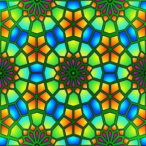 Stained Glass - Green Islamic Stars