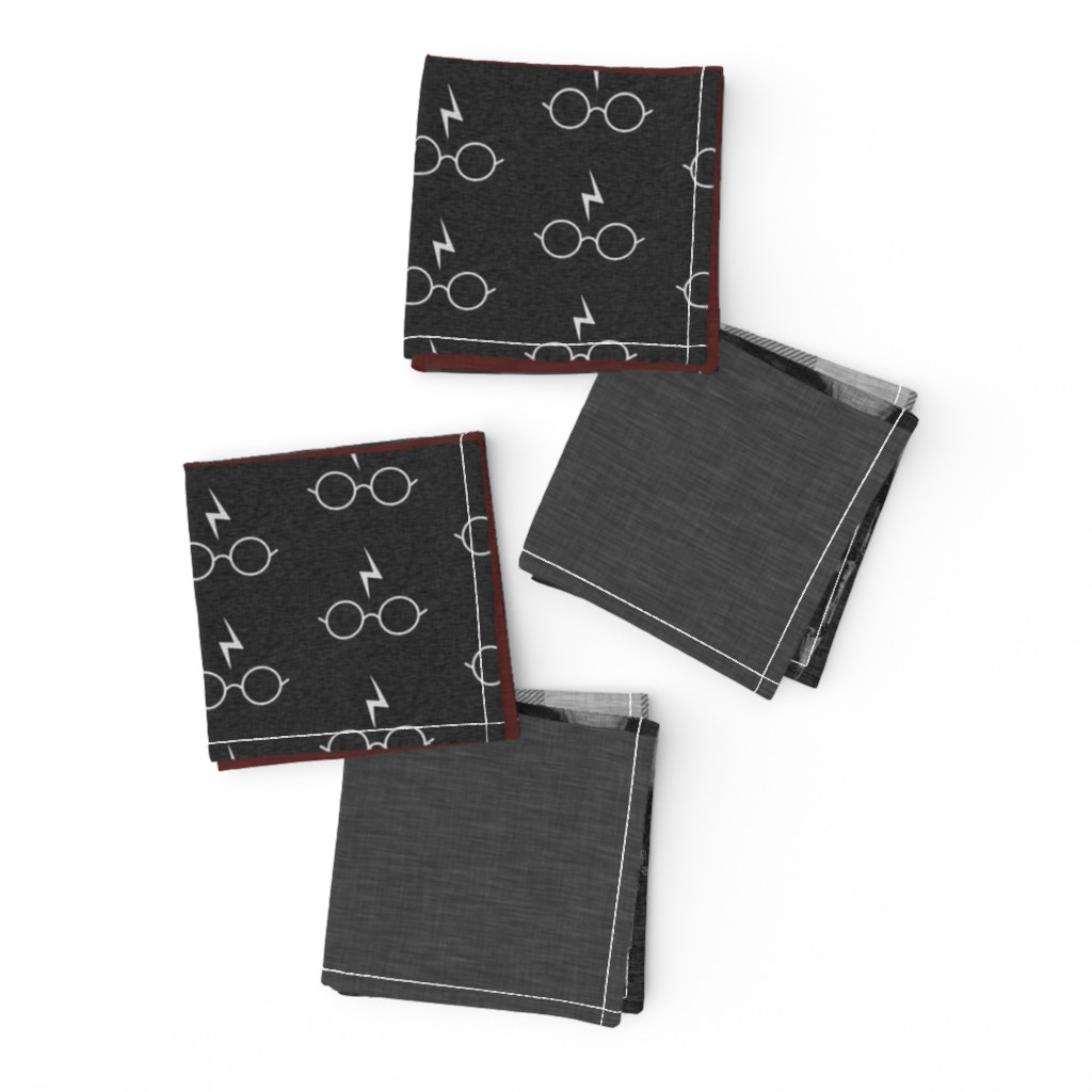 Frizzle Cocktail Napkins featuring Witches and Wizards Wholecloth Quilt - Gold And Burgandy - Glasses, broomsticks, castles, and plaids by sugarpinedesign