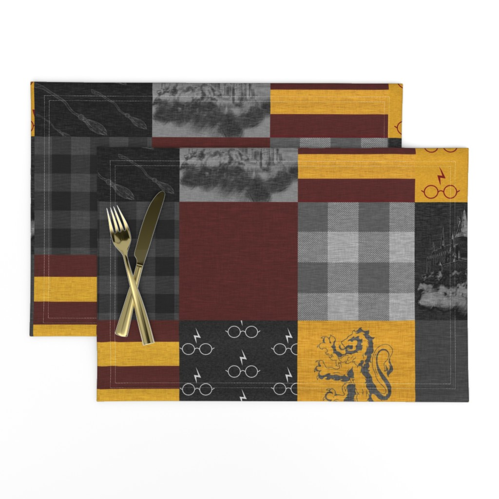 Lamona Cloth Placemats featuring Witches and Wizards Wholecloth Quilt - Gold And Burgandy - Glasses, broomsticks, castles, and plaids by sugarpinedesign
