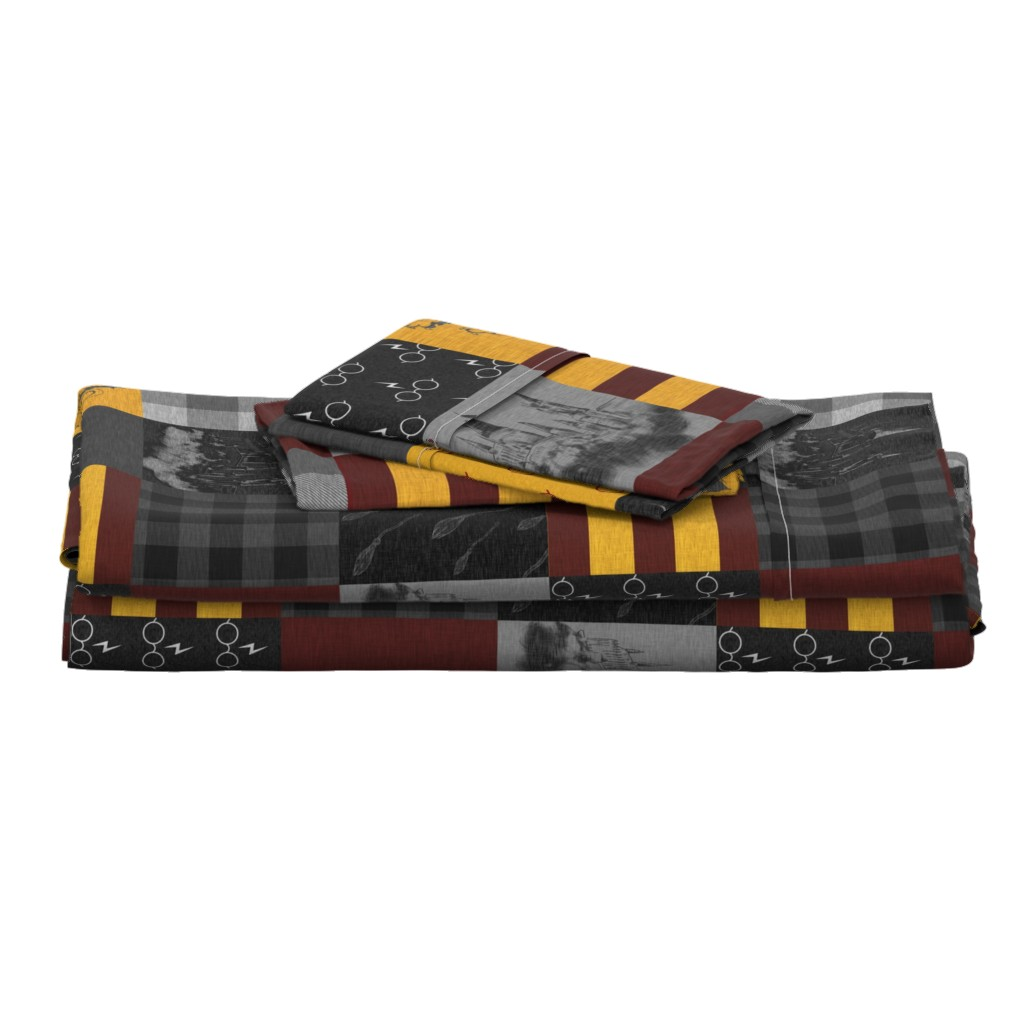 Langshan Full Bed Set featuring Witches and Wizards Wholecloth Quilt - Gold And Burgandy - Glasses, broomsticks, castles, and plaids by sugarpinedesign