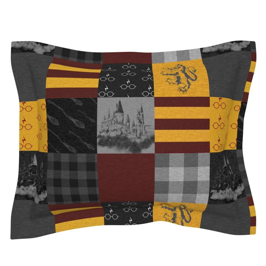 Sebright Pillow Sham featuring Witches and Wizards Wholecloth Quilt - Gold And Burgandy - Glasses, broomsticks, castles, and plaids by sugarpinedesign