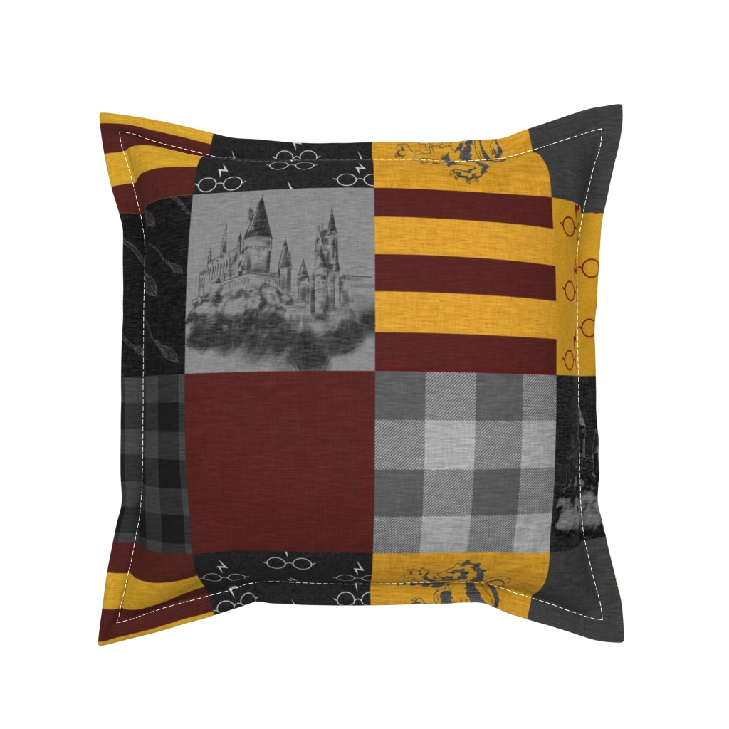 Serama Throw Pillow featuring Witches and Wizards Wholecloth Quilt - Gold And Burgandy - Glasses, broomsticks, castles, and plaids by sugarpinedesign