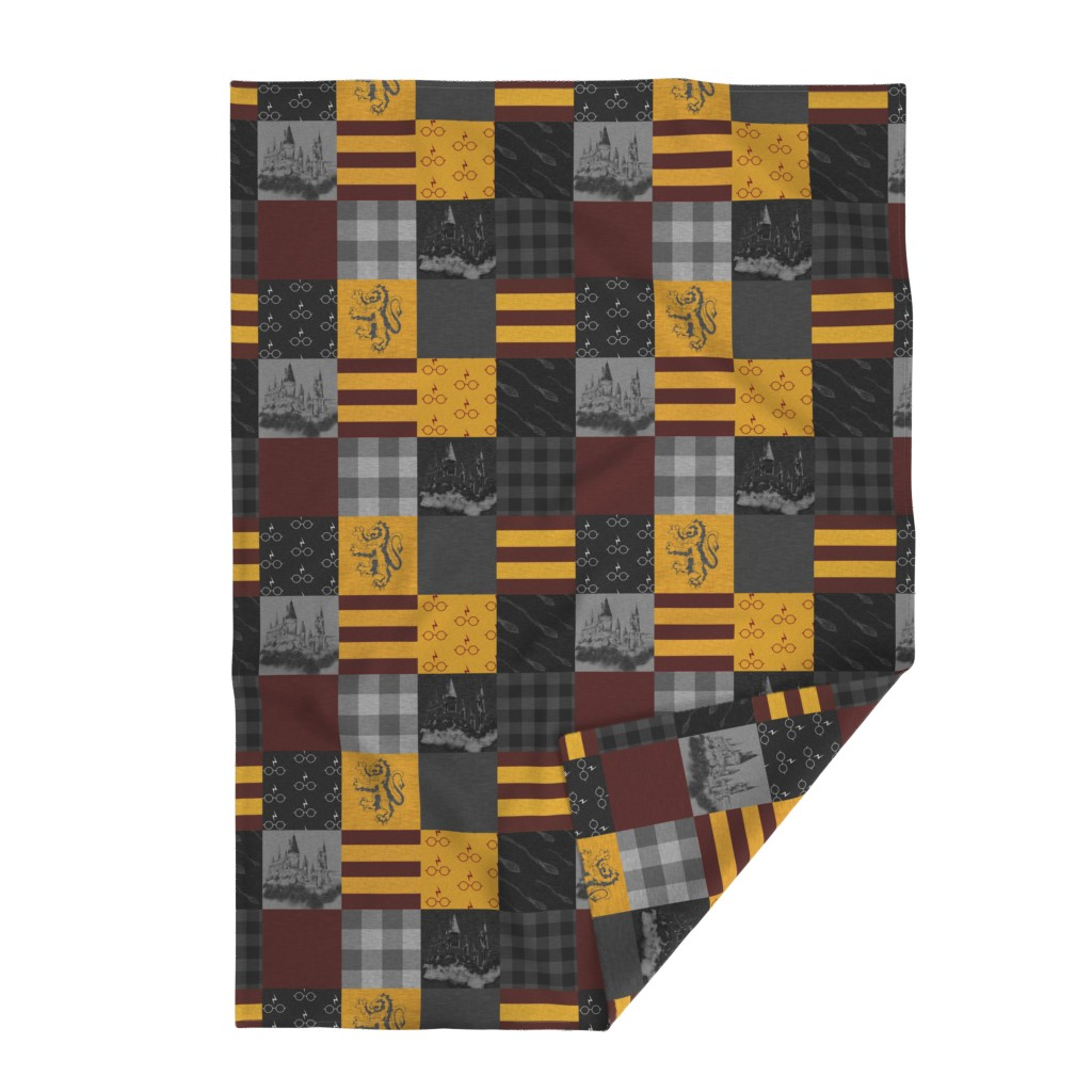 Lakenvelder Throw Blanket featuring Witches and Wizards Wholecloth Quilt - Gold And Burgandy - Glasses, broomsticks, castles, and plaids by sugarpinedesign