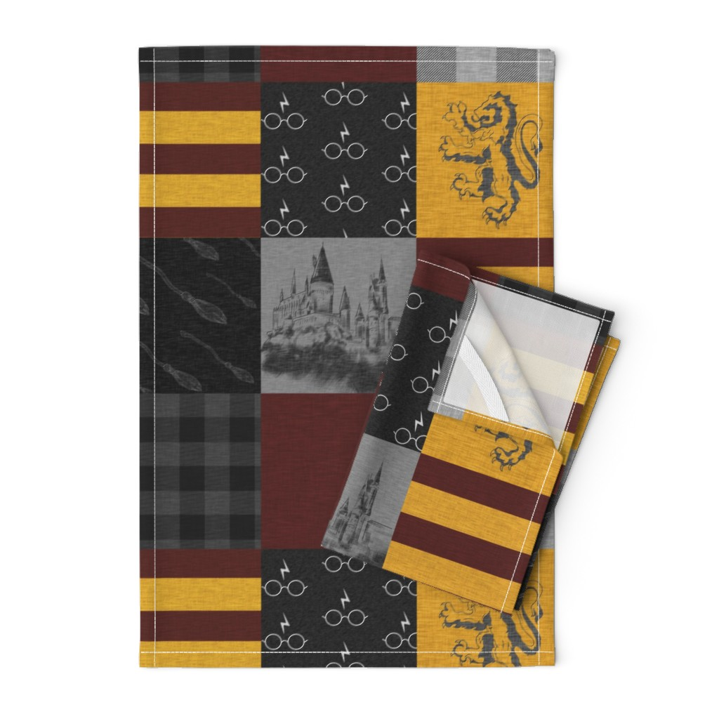 Orpington Tea Towels featuring Witches and Wizards Wholecloth Quilt - Gold And Burgandy - Glasses, broomsticks, castles, and plaids by sugarpinedesign
