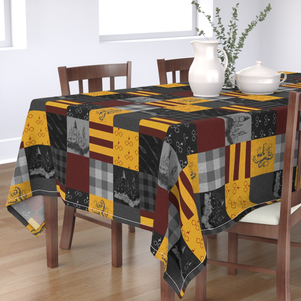 Bantam Rectangular Tablecloth featuring Witches and Wizards Wholecloth Quilt - Gold And Burgandy - Glasses, broomsticks, castles, and plaids by sugarpinedesign