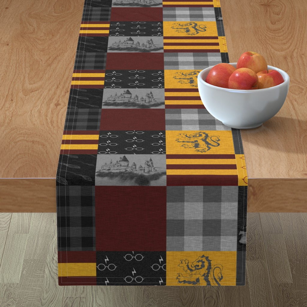 Minorca Table Runner featuring Witches and Wizards Wholecloth Quilt - Gold And Burgandy - Glasses, broomsticks, castles, and plaids by sugarpinedesign