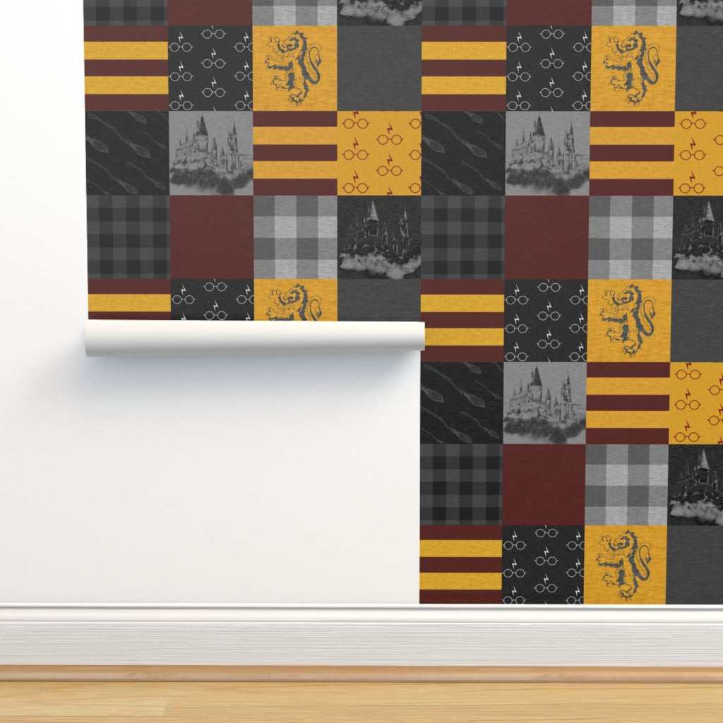 Isobar Durable Wallpaper featuring Witches and Wizards Wholecloth Quilt - Gold And Burgandy - Glasses, broomsticks, castles, and plaids by sugarpinedesign