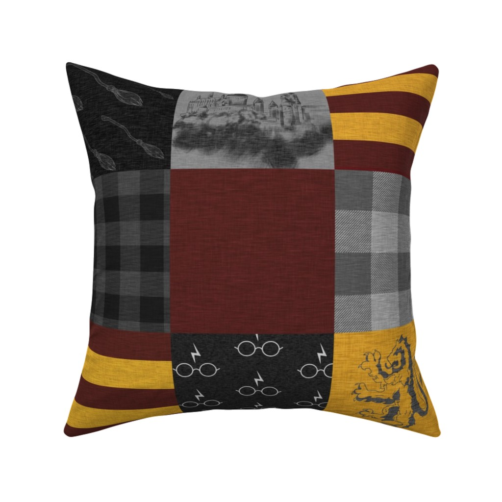 Catalan Throw Pillow featuring Witches and Wizards Wholecloth Quilt - Gold And Burgandy - Glasses, broomsticks, castles, and plaids by sugarpinedesign