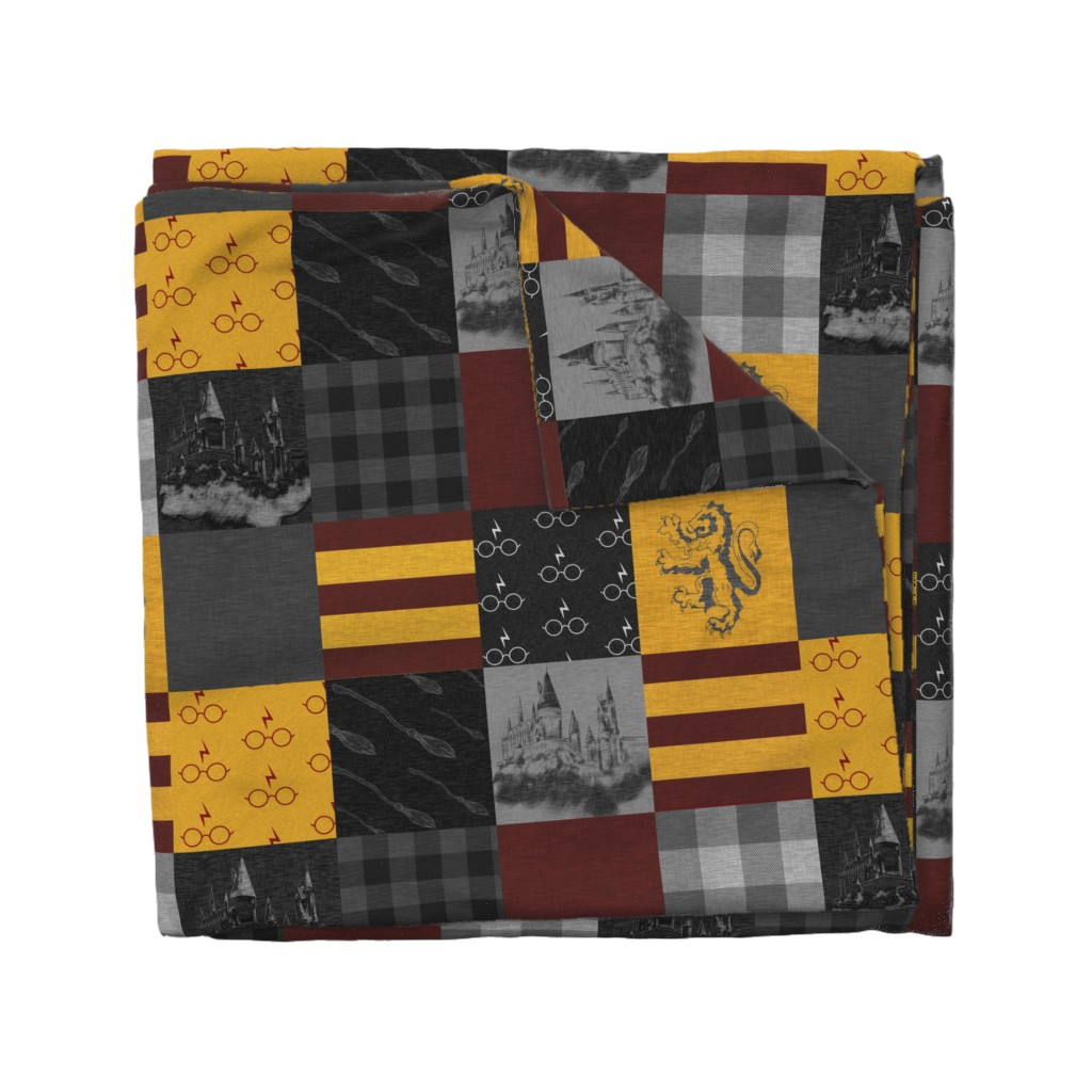 Wyandotte Duvet Cover featuring Witches and Wizards Wholecloth Quilt - Gold And Burgandy - Glasses, broomsticks, castles, and plaids by sugarpinedesign