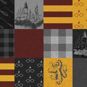 Witches and Wizards Wholecloth Quilt - Gold And Burgandy - Glasses, broomsticks, castles, and plaids