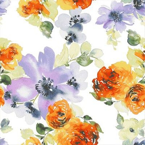 Orange and Purple Watercolor Florals
