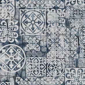 Bohemian on worn washed Denim cloth