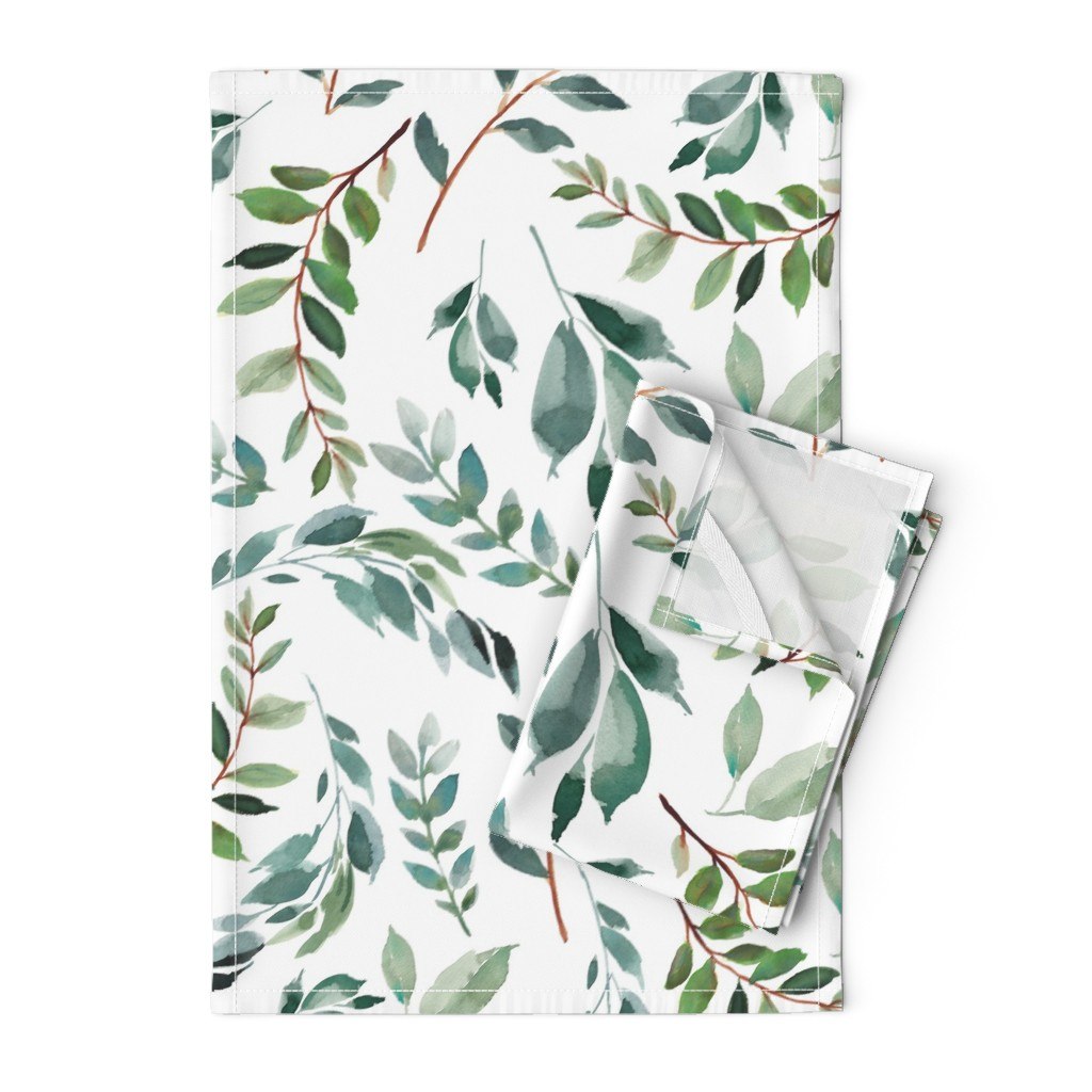 """Orpington Tea Towels featuring 43"""" Wild at Heart Branches / White by shopcabin"""