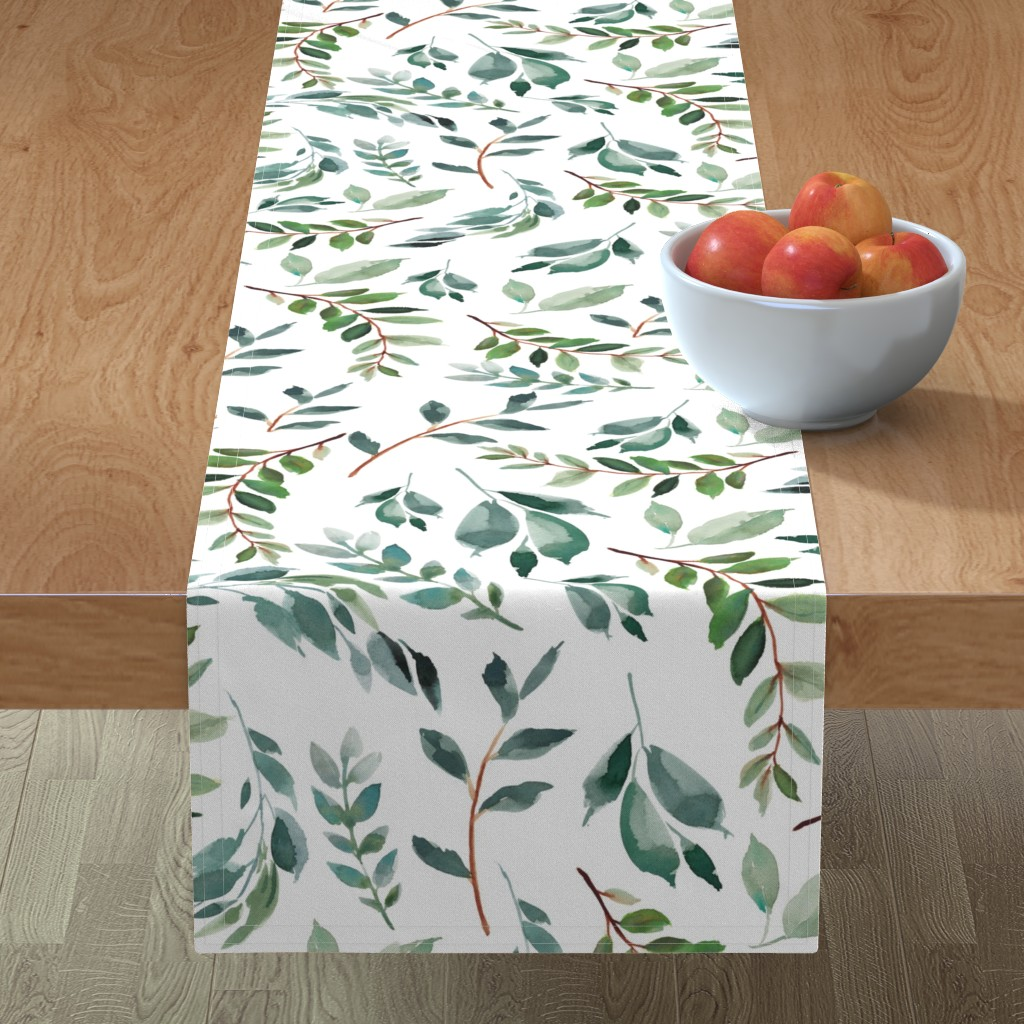 """Minorca Table Runner featuring 43"""" Wild at Heart Branches / White by shopcabin"""