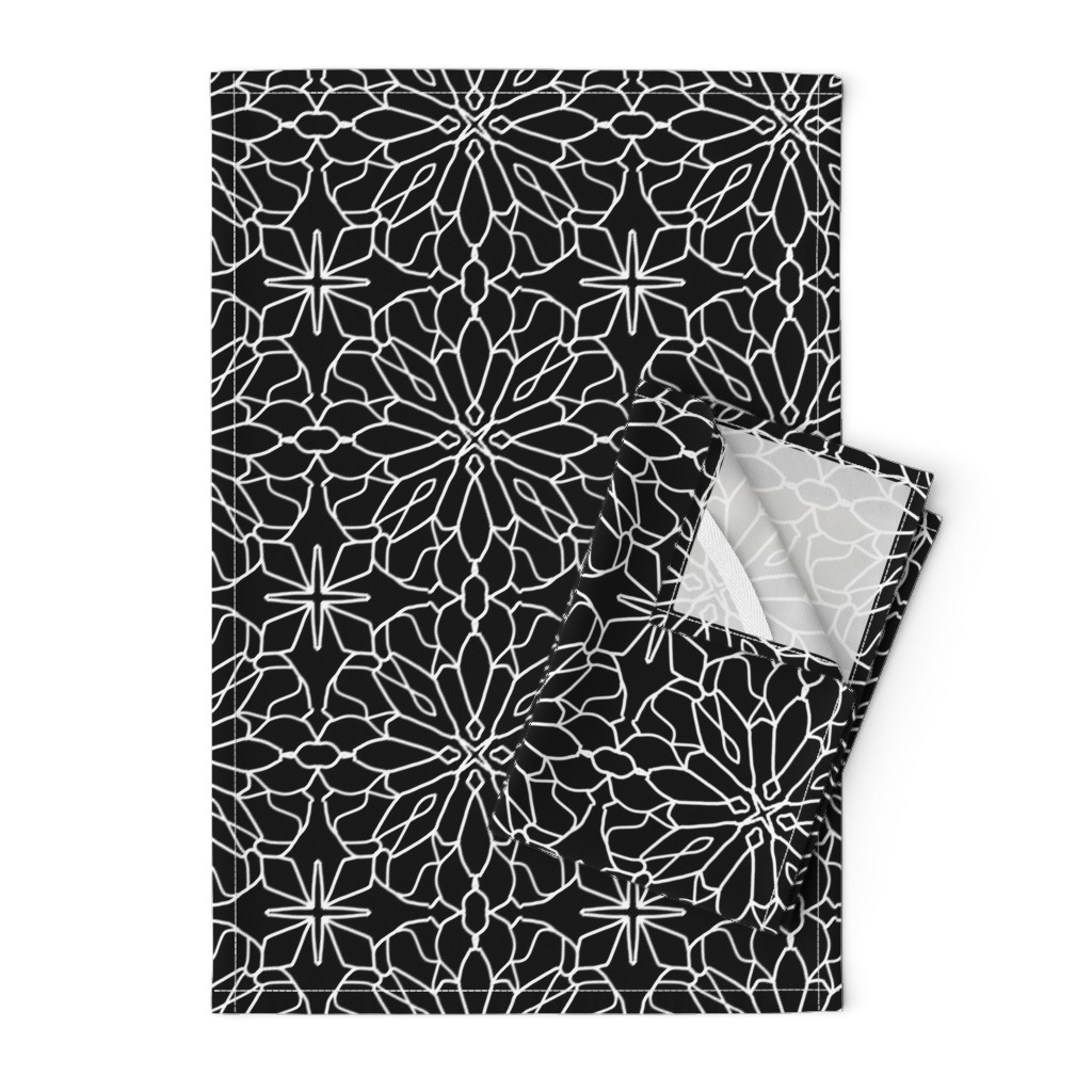 Orpington Tea Towels featuring Geometric lace - black and white by cecca