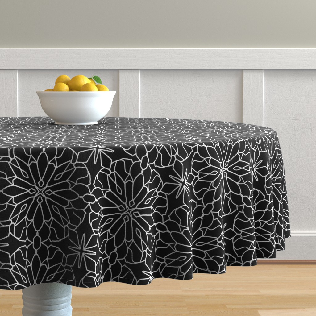Malay Round Tablecloth featuring Geometric lace - black and white by cecca