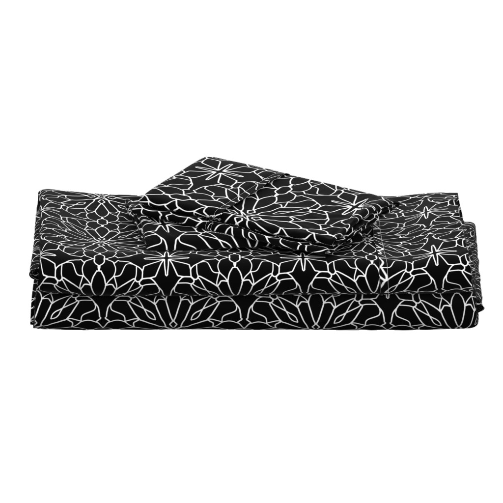 Langshan Full Bed Set featuring Geometric lace - black and white by cecca