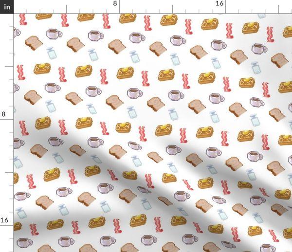 Tissu Au Mètre Pixel Art Crêpe Bacon Petit Déjeuner Aliments