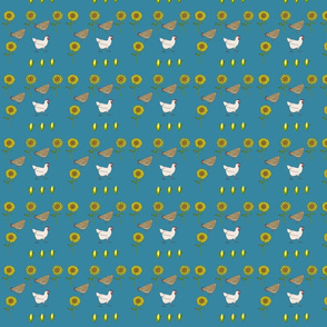Chickens n Sunflowers in Blue