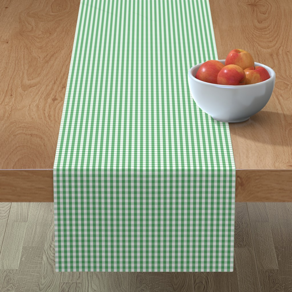Minorca Table Runner featuring Fern Green Gingham Check Plaid by paper_and_frill