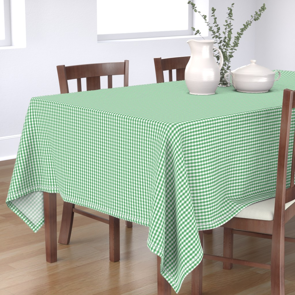 Bantam Rectangular Tablecloth featuring Fern Green Gingham Check Plaid by paper_and_frill