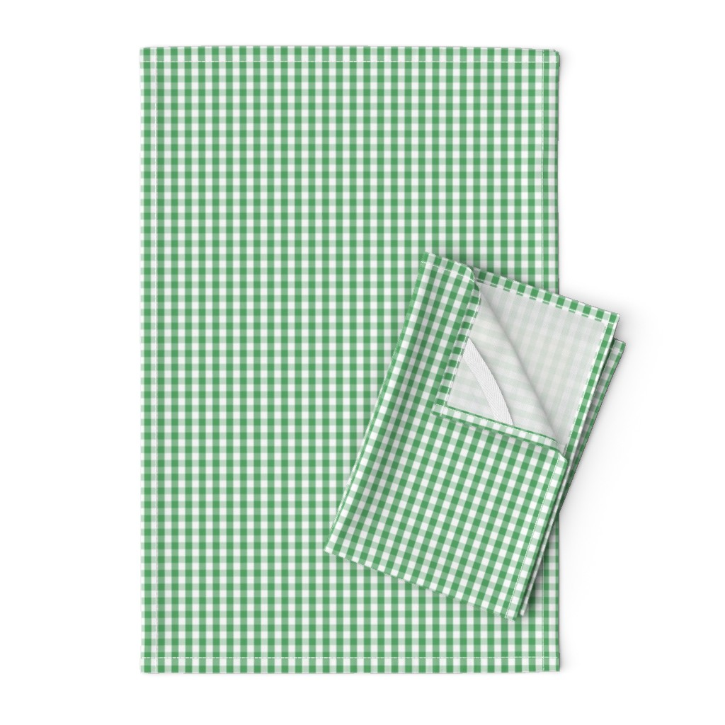 Orpington Tea Towels featuring Fern Green Gingham Check Plaid by paper_and_frill
