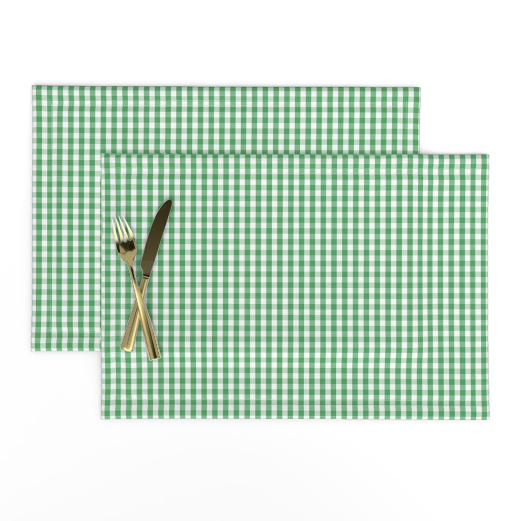 Lamona Cloth Placemats featuring Fern Green Gingham Check Plaid by paper_and_frill