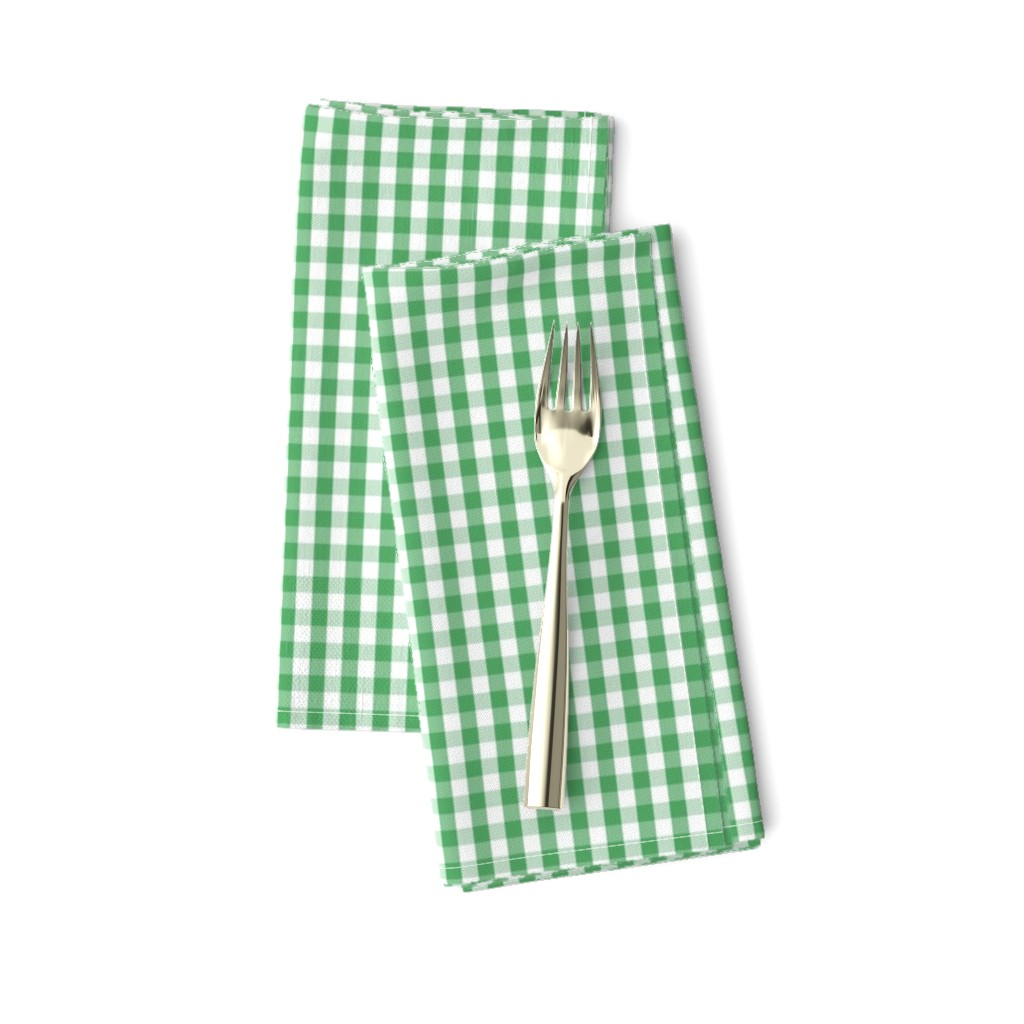 Amarela Dinner Napkins featuring Fern Green Gingham Check Plaid by paper_and_frill