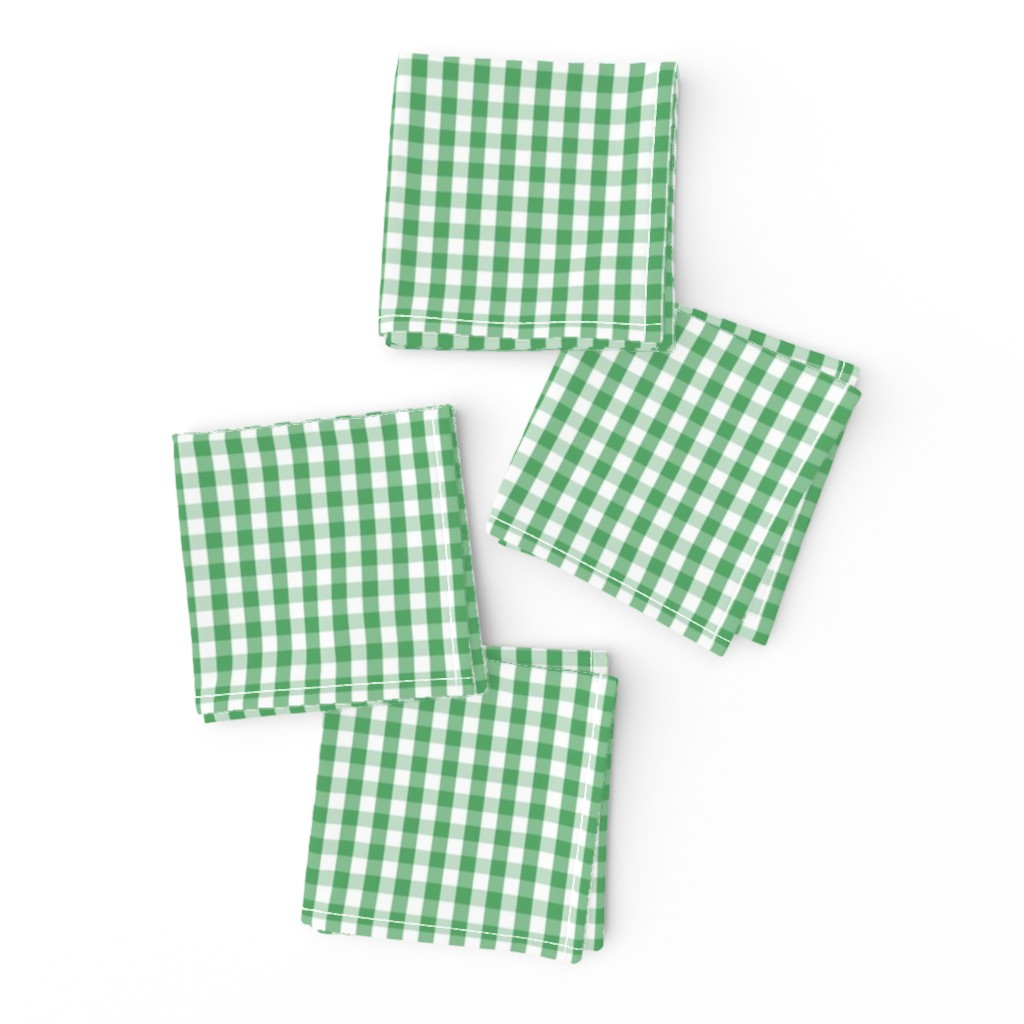 Frizzle Cocktail Napkins featuring Fern Green Gingham Check Plaid by paper_and_frill