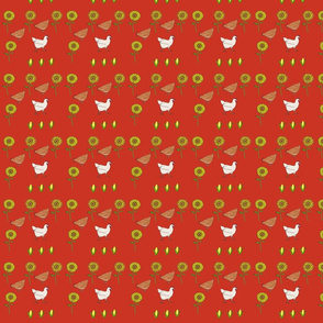 Chickens n Sunflowers in Red