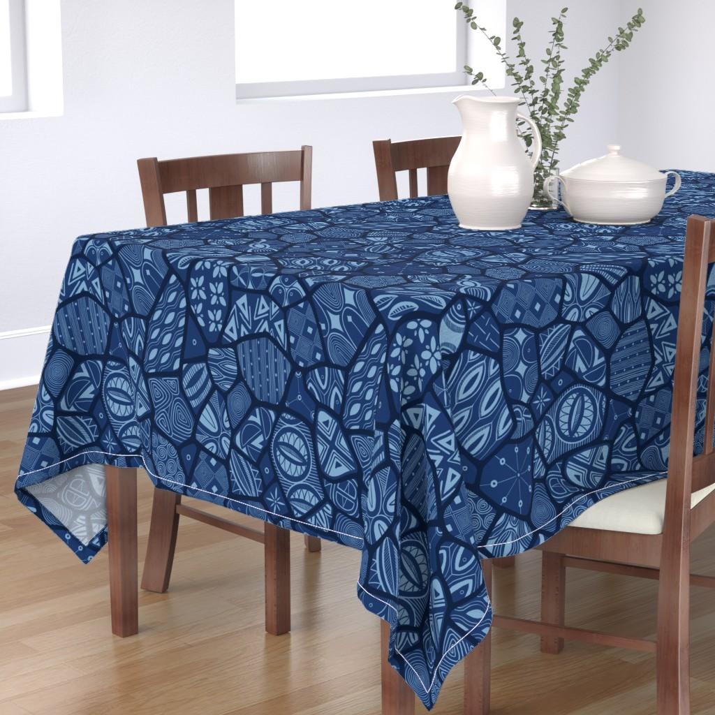 Bantam Rectangular Tablecloth featuring Adire Eleko Modern by torysevas