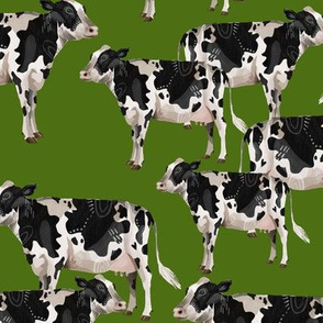 Cows Cows Cows - Grass Green background