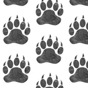 """3"""" Bear Paws - grey on white"""