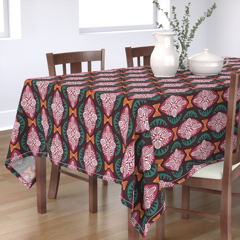 Bantam Rectangular Tablecloth featuring Mod Africa by artfully_minded