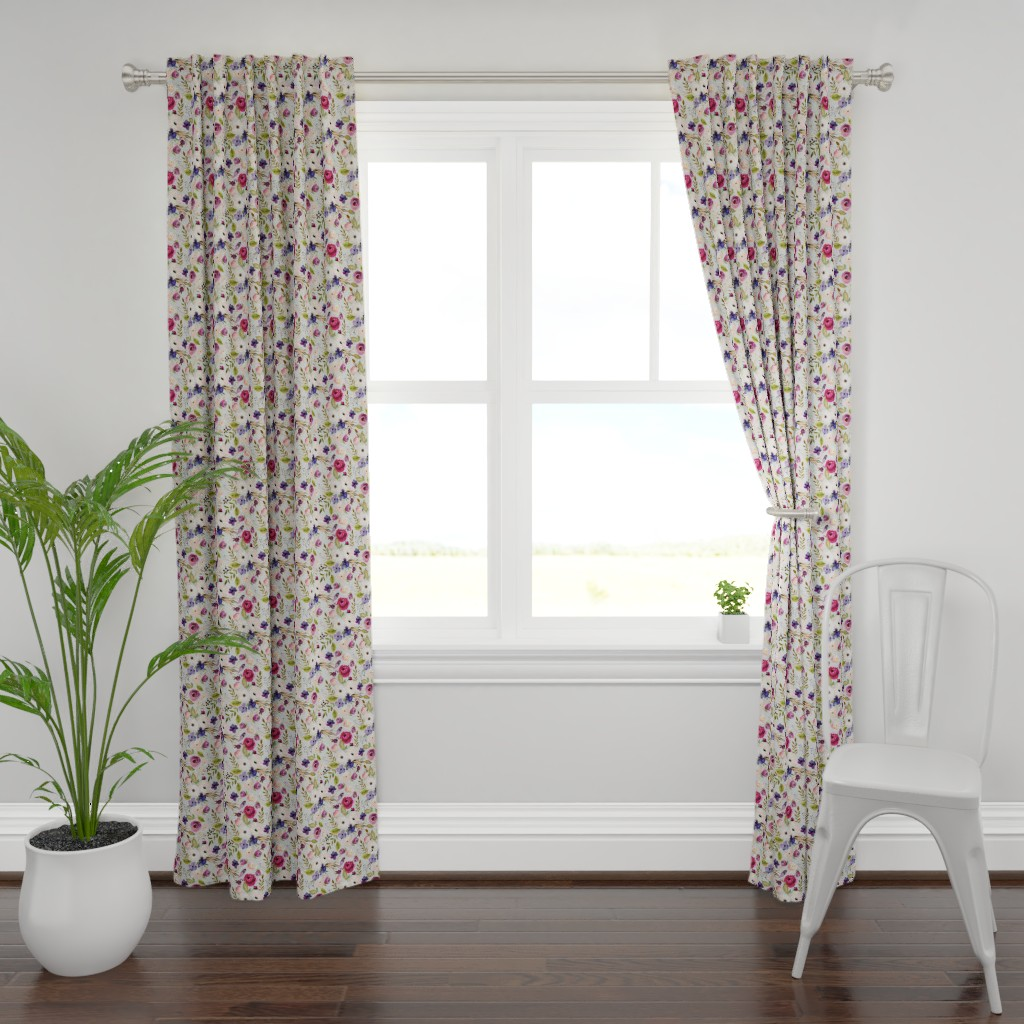 Plymouth Curtain Panel featuring Floral - Plum Purple & Blush Flowers (frost gray) Garden Blooms Baby Girl Nursery by gingerlous