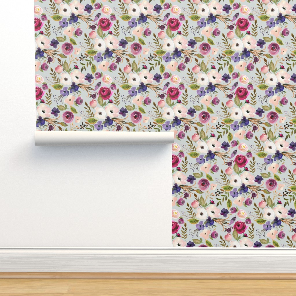 Isobar Durable Wallpaper featuring Floral - Plum Purple & Blush Flowers (frost gray) Garden Blooms Baby Girl Nursery by gingerlous