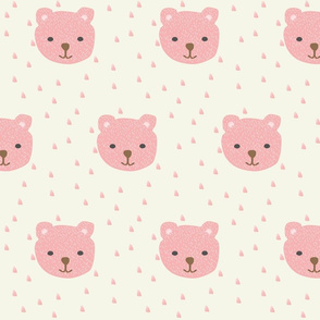 pink bears on soft yellow background