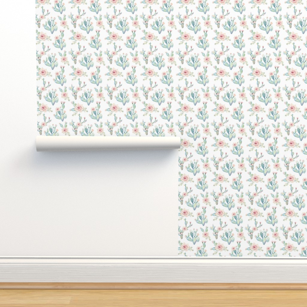 Isobar Durable Wallpaper featuring Watercolor Cactus // Large Scale by hipkiddesigns