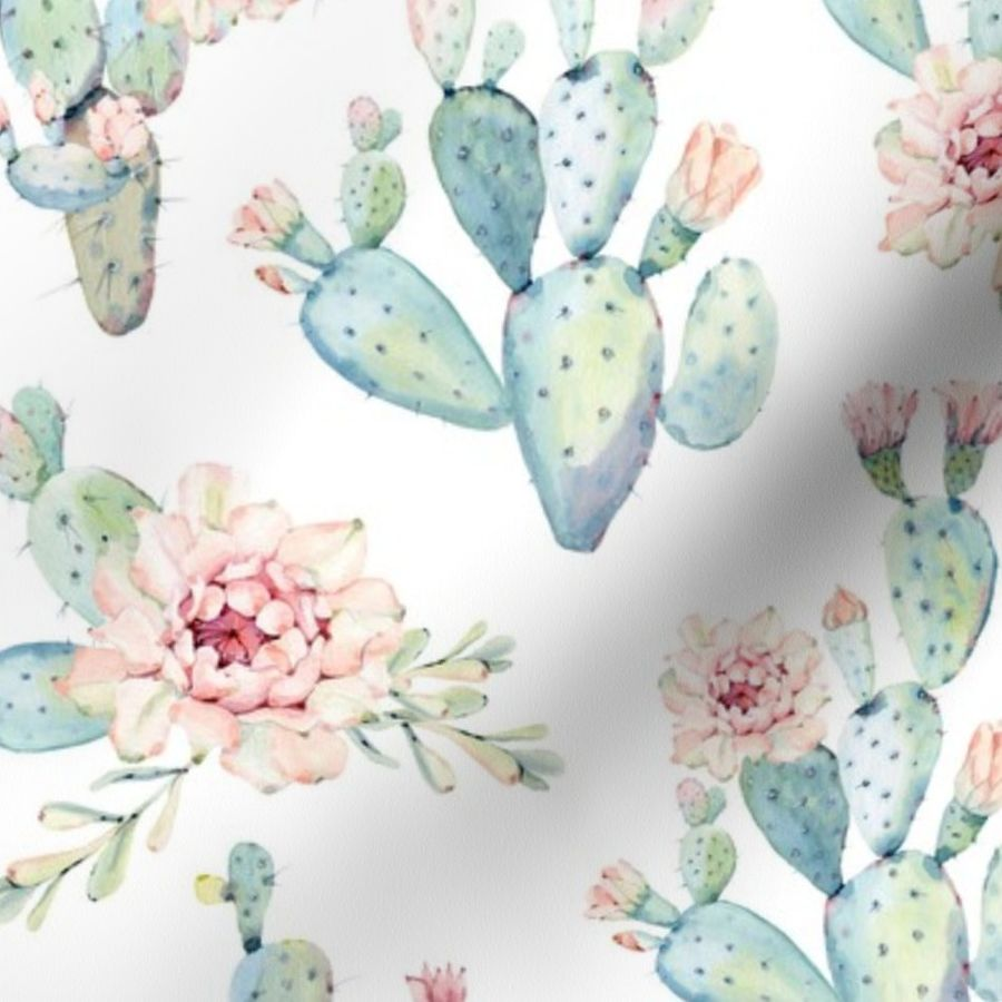21435d783 Watercolor Cactus    Large Scale - Spoonflower