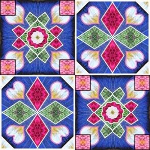 Spanish Tile Blue Pink Corners