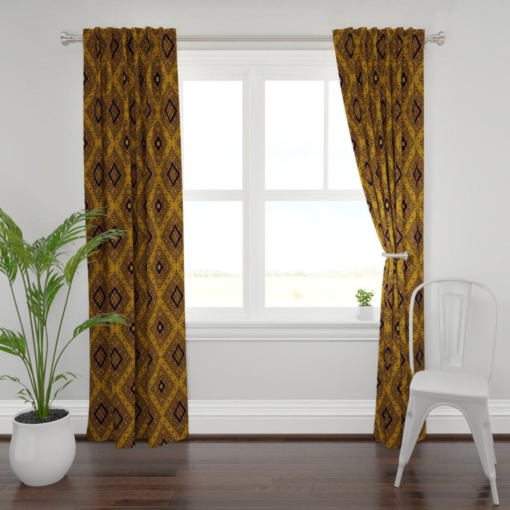 Plymouth Curtain Panel featuring Kilim by kedoki in Hawaiian colors by kedoki